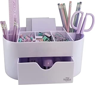 White Lavender Acrylic Desk Organizer for Office Supplies and Desk Accessories Pen Holder Office Organization Desktop Organizer for Room College Dorm Home School, Light Purple
