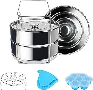 Instant Pot Accessoires Panier vapeur Rack Lot avec support pour œufs et morsures d'œufs, Achort Oeuf cuiseur vapeur Rack,...