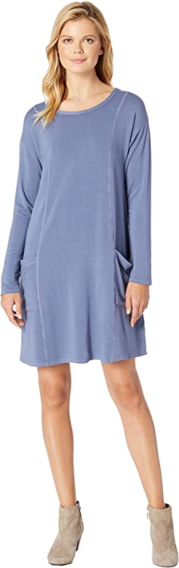 Rayon Spandex Fleece Seamed Sweatshirt Dress with Pockets