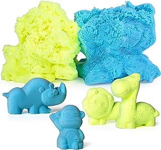 USA Toyz Moosh Fluffy Modeling Clay - Soft Foam Non Drying Clay w/ 10 Animal Molds (Blue/Yellow)