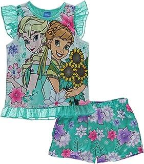 Frozen Little Girls Aqua &マルチカラーパジャマショートセット2