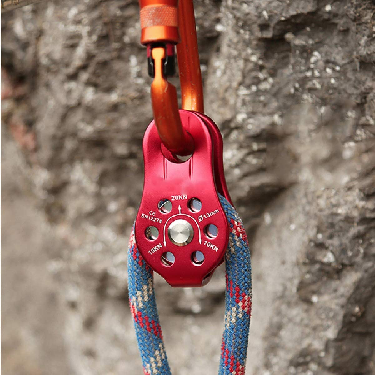 TRIWONDER 20kN Climbing Pulley Rescue Pulley Single Sheave Aluminum Fixed Eye Rock Rope Pulley