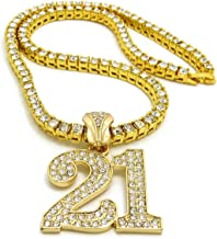 "BLINGFACTORY Hip Hop Iced Gold Plated Savage 21 Pendant & 3mm 18"" 1 Row Tennis Chain Necklace"