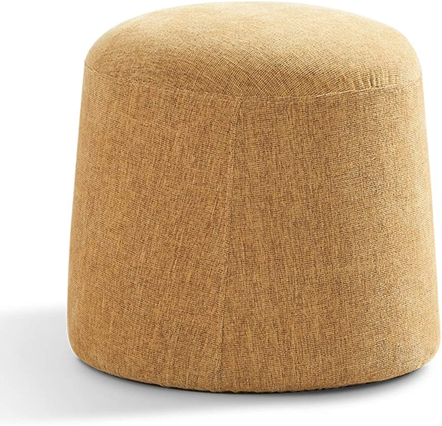 Sofa Stool Change shoes Stool Solid Wood Linen Creative Multifunctional Makeup Stool (color   Yellow, Size   39  37cm)