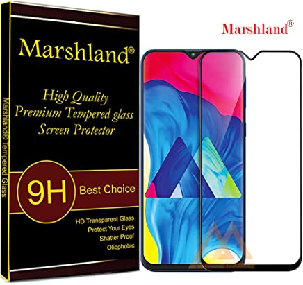 Marshland 6D Full Glue Screen Protector Crystal Clear Anti Scratch Bubble Free Smooth Tempered Glass Compatible for Samsung Galaxy M10 (Black)