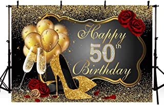 MEHOFOTO Photo Background Shining Sequin Black Gold High Heels Champagne Woman Red Rose Balloons 50th Happy Birthday Party Banner Backdrops for Photography 8x6ft