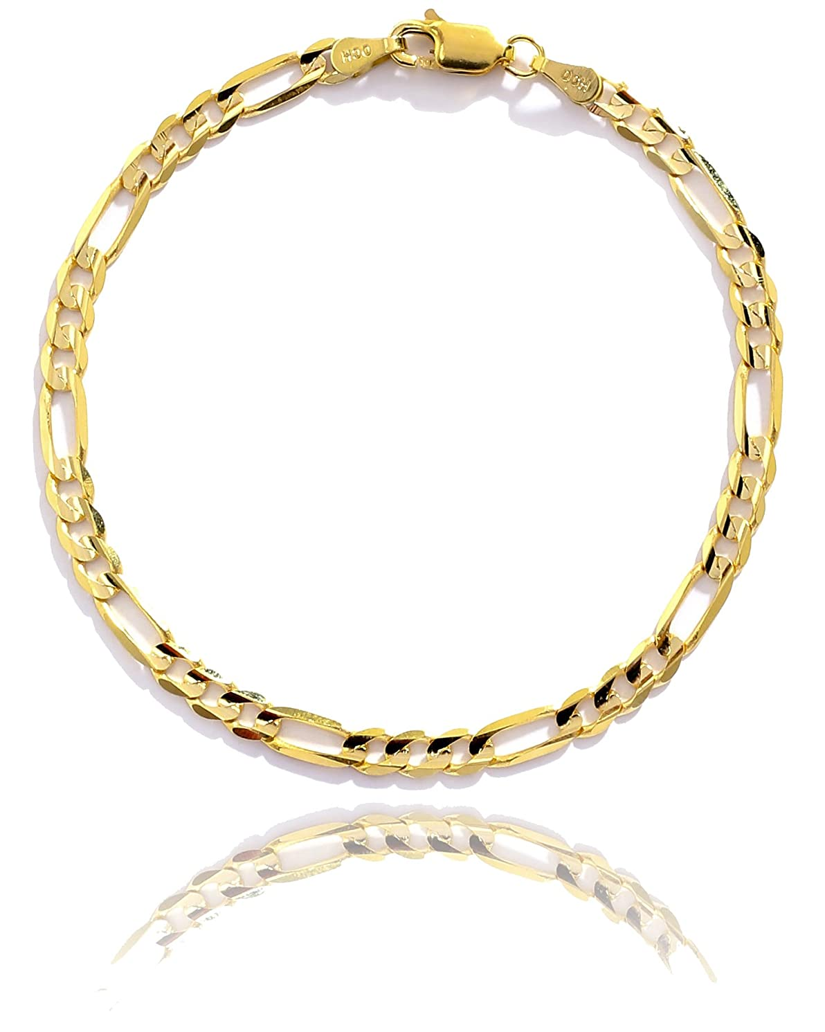 10k Yellow Gold Solid Italian Figaro Chain Wrist and Ankle Bracelet, 0.16 Inch (4mm)