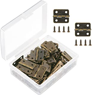 Aneco 50 Pieces Antique Bronze Mini Hinges Retro Butt Hinges with 200 Pieces Replacement Hinge Screws, with Plastic Contain Box