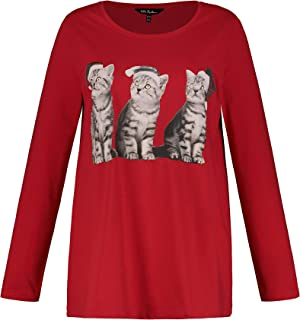 ULLA POPKEN Weihnachtsshirt Katze, A-Line T-Shirt, Rot, Grandi Formati Donna