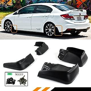 Cuztom Tuning Fits for 2012-2015 9TH Gen Honda Civic 4 Door Sedan Mud Flaps Splash Guards Set Front + Rear