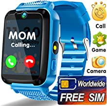 Kids Smart Watch Phone with Worldwide SIM Card - Game Wrist Watch for Boys Girls - Kids Smartwatch 12/24H Dual Timer Camera Torch Alarm SOS Walkie-Talkie - Learning Toys Holiday Birthday Gifts - Blue