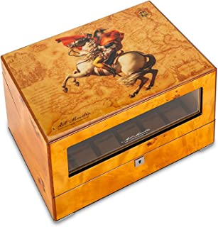 4+6 Automatic Watch Winder Box, Wooden Silent Battery Operated Watches Winders Display Box Luxury Storage Case Brown