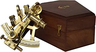 Brass Nautical - Sextant Brass Navigation Instrument Sextante Navegacion Marine Sextant in Hardwood Gift Box (4 inches, Shiny Brass)