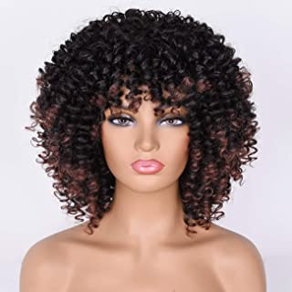 Goodly Short Afro Curly Wigs with Bangs for Black Women 2 Tone Synthetic Kinky Curly Hair Wig Afro Heat Resistant Full Wigs