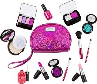 PixieCrush Pretend Play Makeup Kit. Designer Girls Purple Sparkle Bag Deluxe Makeup Set