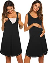 Sexyfree Maternity Gown Womens Sleeveless Nursing Nightwear Button Up Hospital Nightdress S-XXL