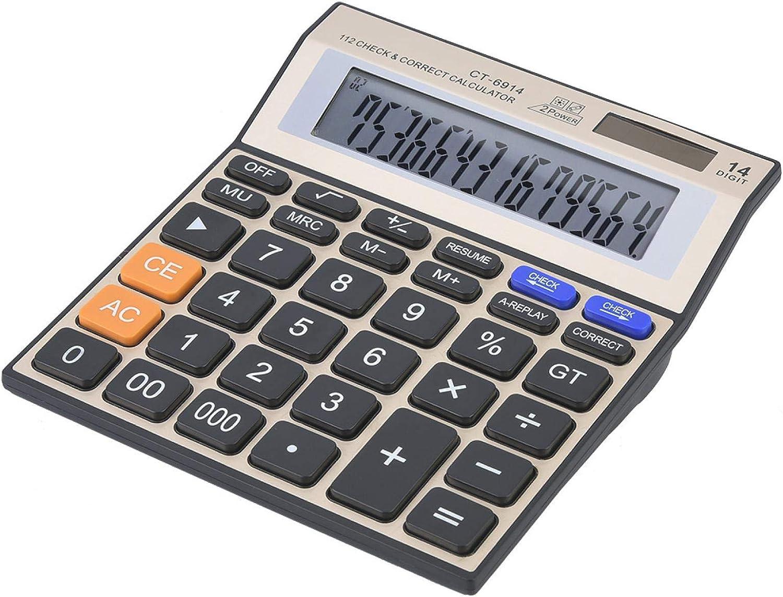 Ladieshow Solar Calculator 14-Digit Batt Max 64% OFF Large Sale Screen