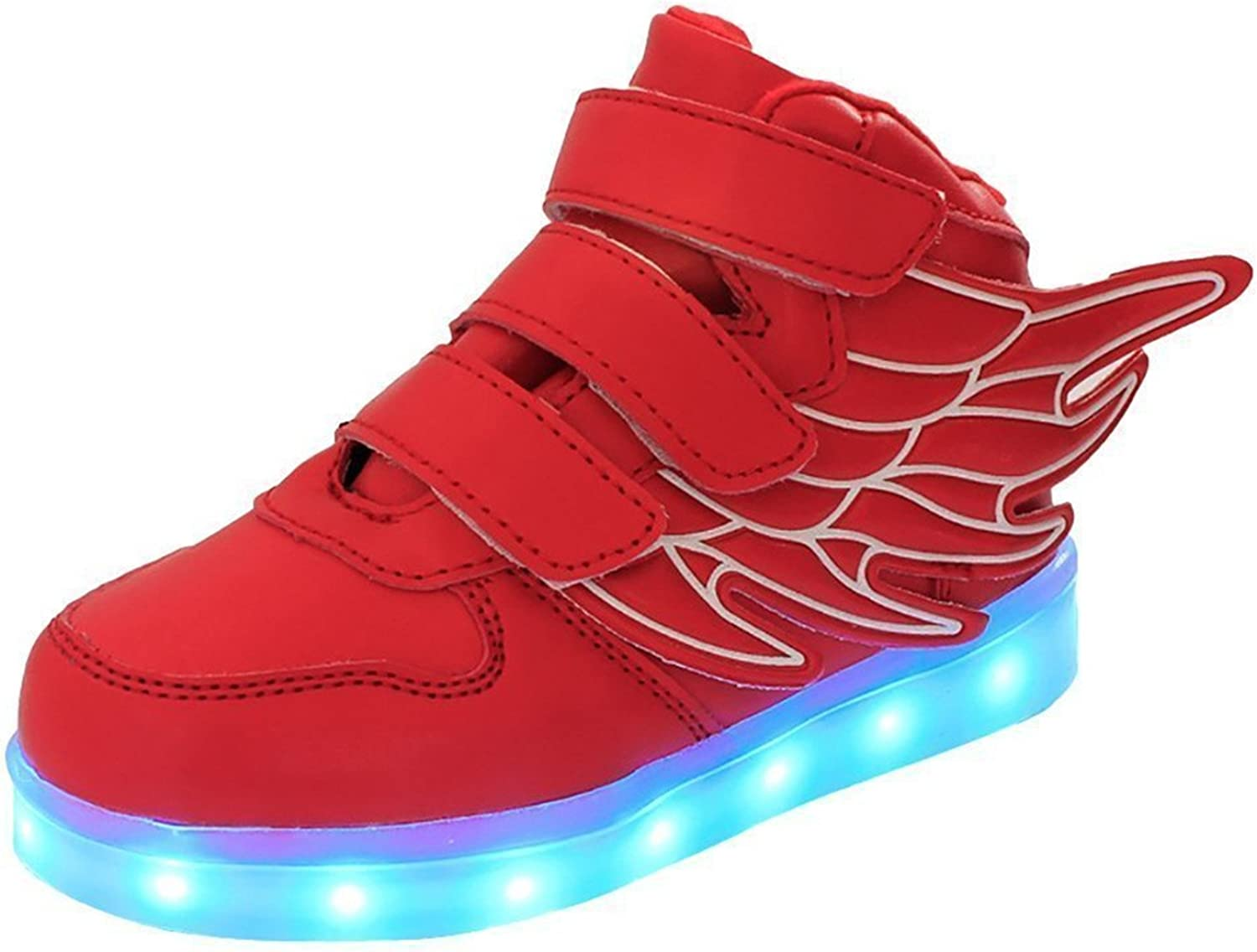 Also Easy Stylish Kids LED Light up Sneaker Athletic Wings shoes High Student Dance Boot USB Charge (Little Kid, Black) Style