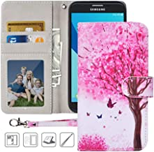 Galaxy J7 Refine Wallet Case,MagicSky J7 Crown,J7 Aero,J7 Top,J7 Aura,J7 Star,J7 Eon,J737V,J737T PU Leather Flip Folio Case Cover w/Card Holder,Kickstand for Samsung J7 2018,Pink Tree
