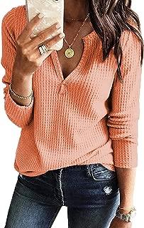 BLUETIME Womens Waffle Knit Tunic Tops Long Sleeve Loose V Neck Shirts Blouse