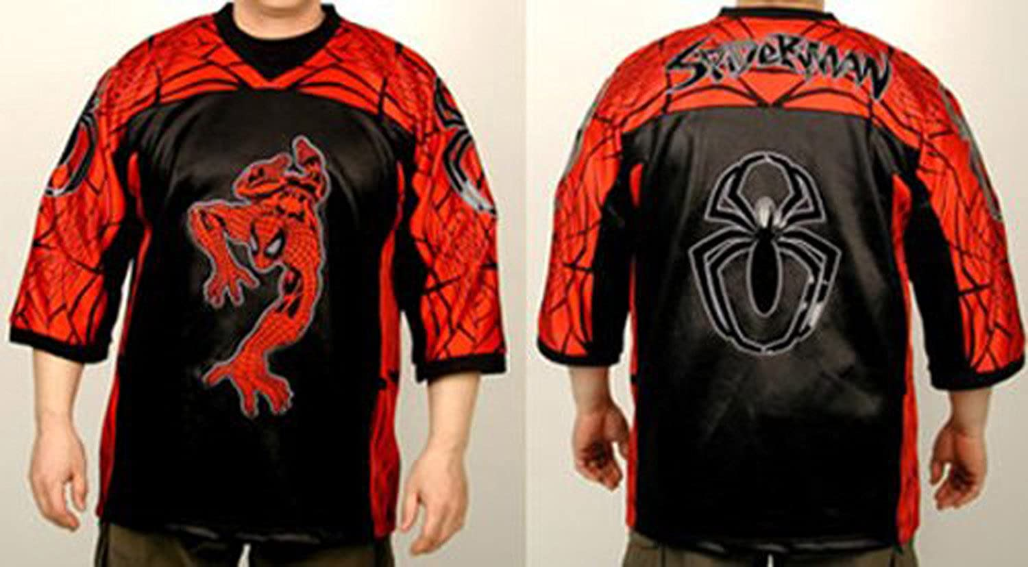 Medium Black and Red Spiderman Football Syle Jersey