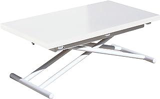 Adec - Up-Down Mesa de Centro elevable Extensible Mesa de Comedor Mesa Salon Acabado en Color Blanco Medidas: 100 cm (...