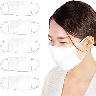 イイダ靴下(ifan) ストレッチニットマスク5枚入り 白 フリーサイズ W17×H11cm 大人用(男女兼用) 洗える 布マスク 2重構造 日本製 (大人用)