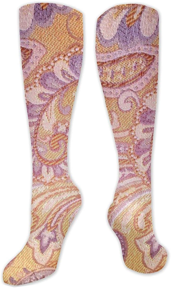 Texture Purple Pattern Brown Knee High Socks Leg Warmer Dresses Long Boot Stockings For Womens Cosplay Daily Wear