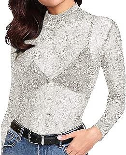 OVERMAL_Tops Women Sequin See-Through Long Sleeve Glitter Top Mesh Sheer Shirt Blouse