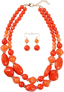2 Layer Statement Chunky Resin Beaded Fashion Strand Necklaces for Women Gifts