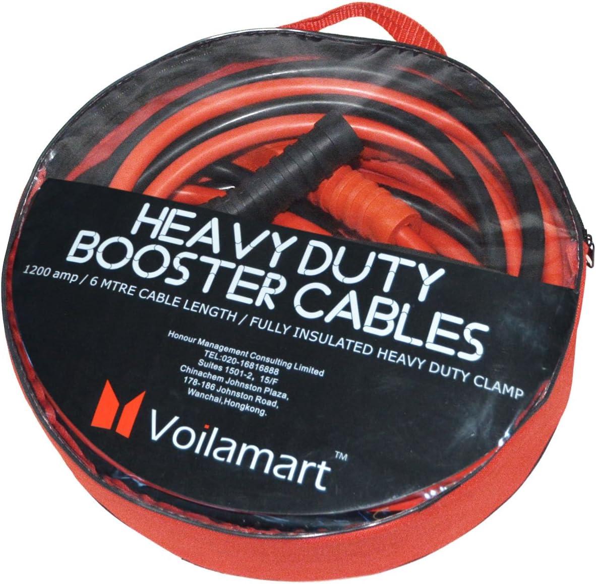 Instruction Slip Voilamart Auto Jumper Cables 1 Gauge 1200AMP 20Ft w//Carry Bag Heavy Duty for Car Van Truck Commercial Grade Automotive Booster Cables