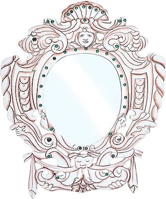 JaipurCrafts Antique Mirror for Wall, Home Decor, Antique Designer Mirror- 13 in (Pink & White, Wooden)