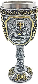Medieval Viking Knight Royal Chalice King Wine Goblet Gothic Metal Cup Drinking Vessel for Themed Party Decorations Wedding Prop