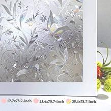 "Bloss No Glue Static Cling Window Film Decorative Pattern Design Glass Window Film Privacy Window Covers for Home/Bedroom/Bathroom Window Decor,35.4"" x 78.7"""