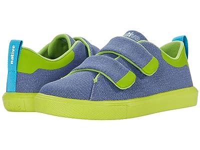 Native Kids Shoes Monaco CT Canvas (Little Kid) (New Dark Blue/Chartruese Green) Boy
