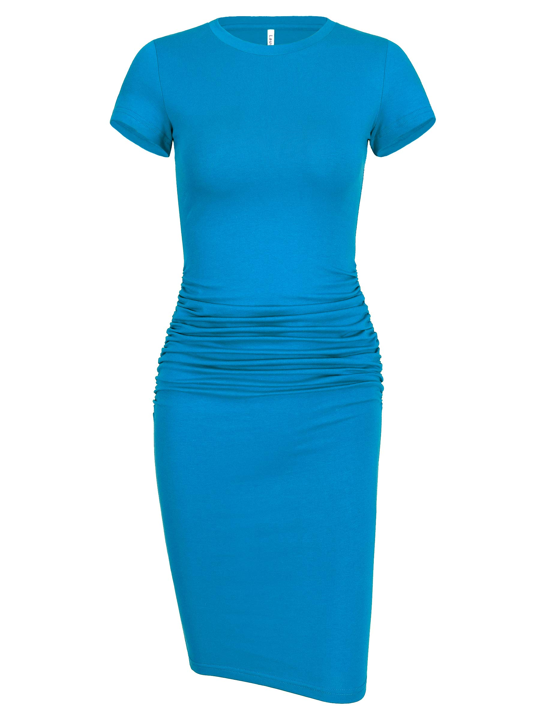 Laughido Womens Short Sleeve Ruched Sundress Knee Length Casual Bodycon T Shirt Dress