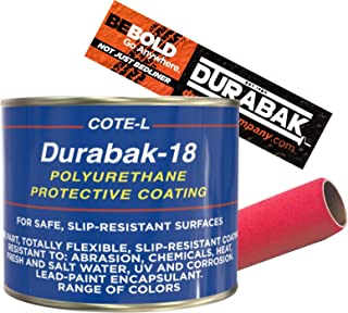 Durabak Exterior Paint KIT w. Roller Roll On Coating DIY Custom Coat for Auto Body, Automotive Rust Proofing, Boat Repair, Scratch Guard | Smooth Finish in 15 Detailing Colors (Quart, Light Grey)
