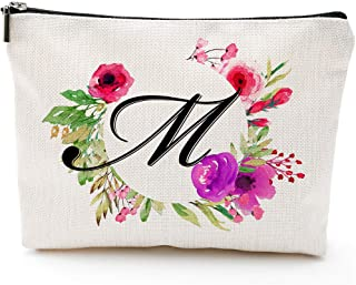 Blue Leaves M Initial Monogram Personalized Travel Makeup Cosmetic Bag Pencil Pouch Gifts with Zipper Waterproof