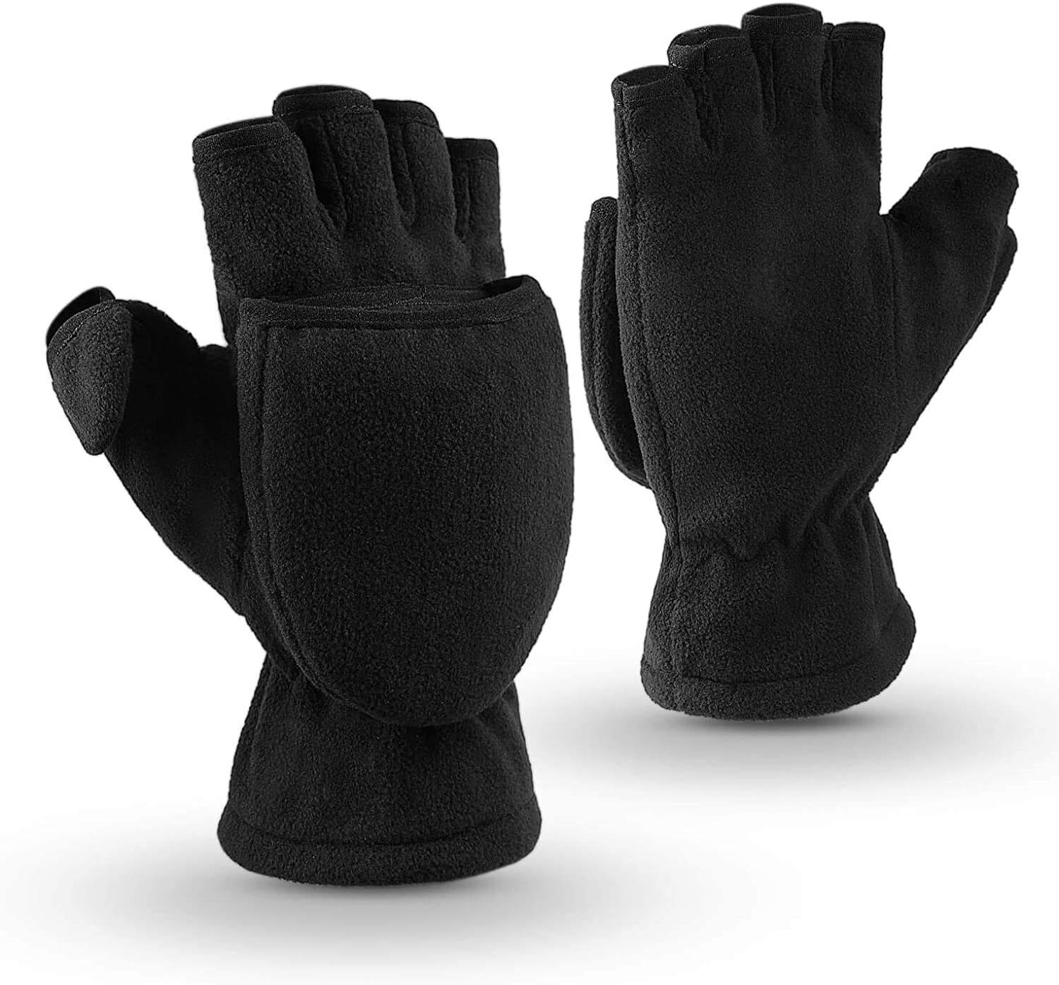OZERO Winter Gloves 3M Thinsulate Fingerless Convertible Thermal Mittens Windproof Insulated Polar Fleece Warm for Men and Women Black