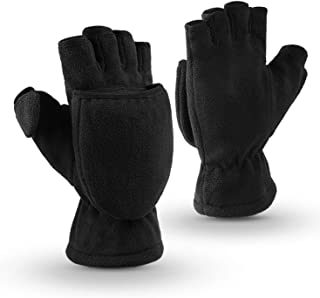 OZERO Winter Gloves 3M Thinsulate Fingerless Convertible Thermal Mittens Windproof Insulated Polar Fleece Warm for Men and...