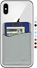 Premium Leather Phone Card Holder Stick On Wallet for iPhone and Android Smartphones (Light Grey Leather) by Wallaroo