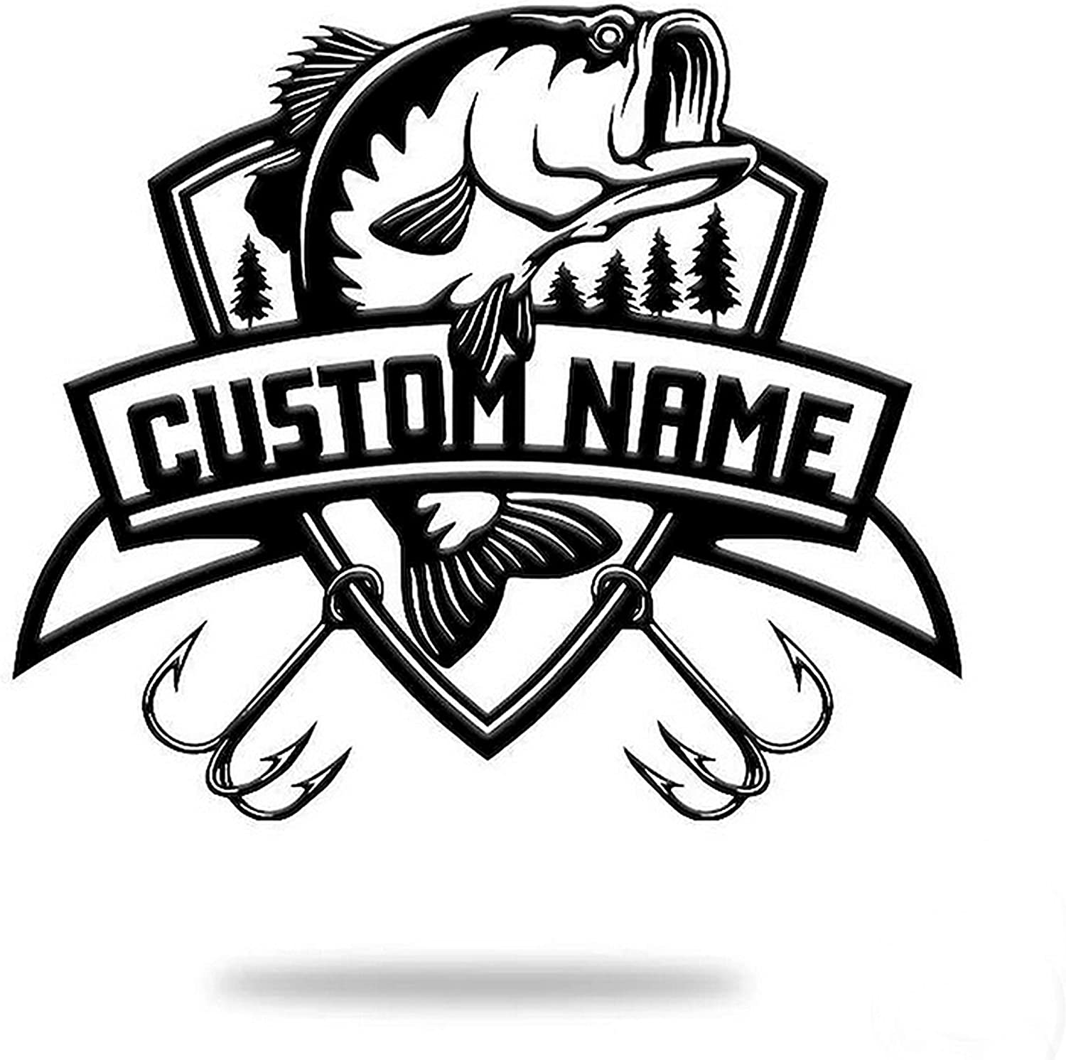 Personalized Bass Fishing Metal Sign Name Denver Mall Scene Custom S Sales