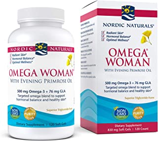 Nordic Naturals Omega Woman, Lemon - 120 Soft Gels - 500 mg Omega-3 + 800 mg Evening Primrose Oil - Healthy Skin, Hormonal...