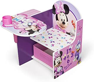 Disney Chair Desk With Storage Bin Minnie Mouse Characters Desk Set Fabric Storage Bin Seat Extra Storage Table Desk Chair MDF Construction Assembly Required Sits Low Children Furniture