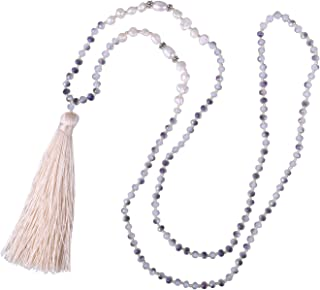 Long Tassel Necklace Handmade Shell Pearl Crystal Beads Necklace for Women, Grey