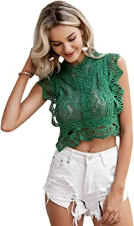Women's Lace Embroidery Sleeveless Crop Tops Elegant Hollow Out Summer Cami Tops