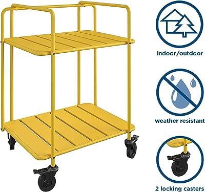 Novogratz Poolside Gossip Collection, Penelope Outdoor/Indoor Cart, Yellow