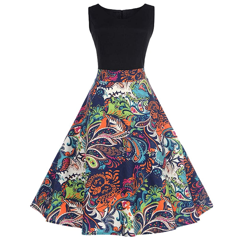 Clearance! Summer Prom Swing Dress,Oliviavan Women Vintage Sleeveless O Neck Printed Evening Party Dress