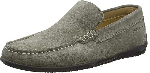 Jiuyue-zapatos Mocasines de conducción de los hombres Trabaño Hecho a Maño Sutura Gamuza Cuero Genuino Penny Boat Moccasins (Color   gris, Tamaño   37 EU)