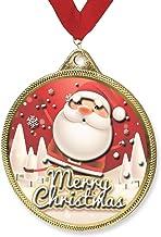 Trophy Monster Vrolijk kerstmedaille & lint Combo cadeau of presentatie | Gemaakt van metaal met 3D Textuur Print | Bulk D...